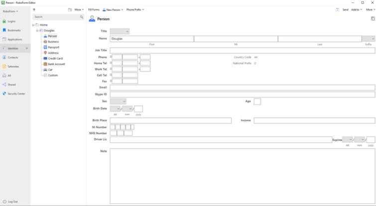 identity web form