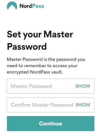 NordPass set master password