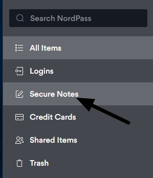 secure notes tab
