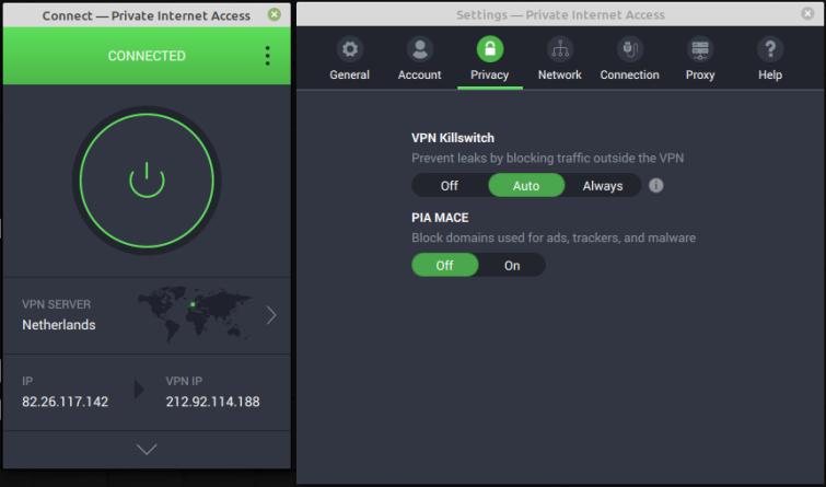 PIA Linux client