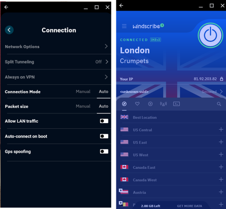 Windscribe free VPN android app