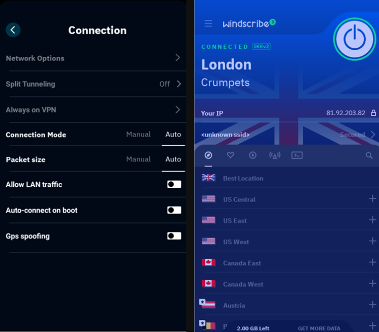 Windscribe iOS app