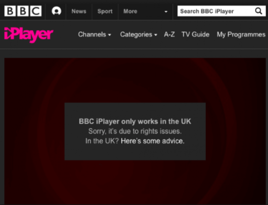 iPlayer proxy error message