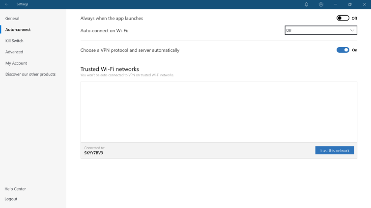 NordVPN connection settings