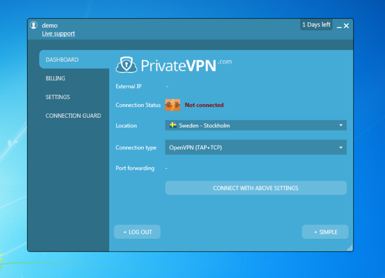 PrivateVPN on Windows