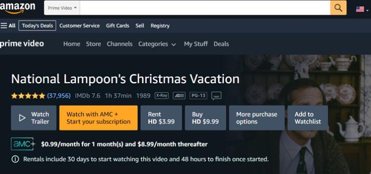 national lampoon's christmas vacation on amazon prime