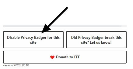 disable privacy badger for this site