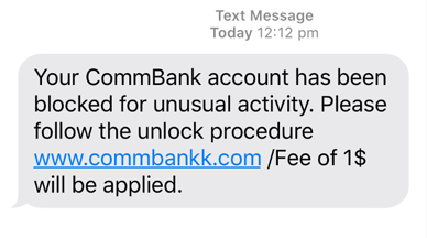 Commbank Smishing Message