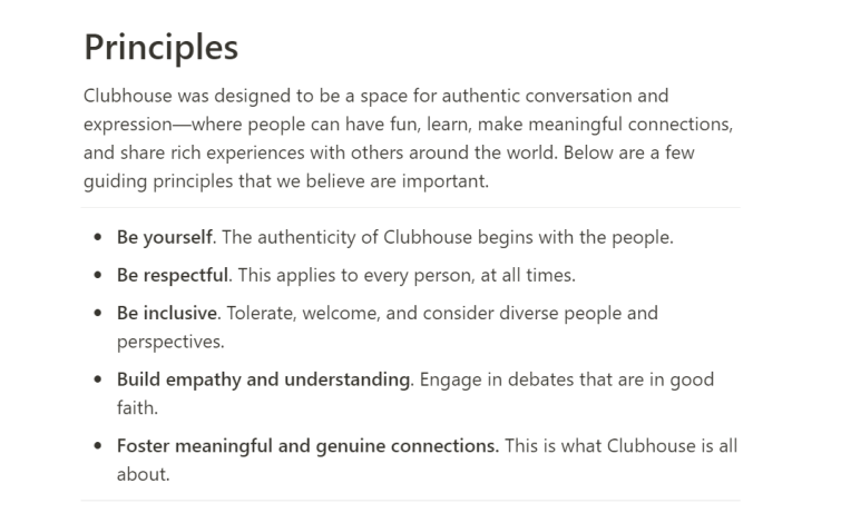 Clubhouse principles / rules
