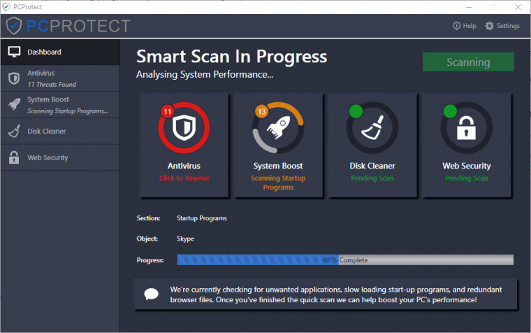 PCProtect scanning