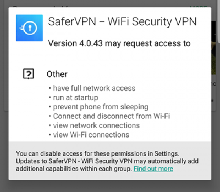 SaferVPN app permissions